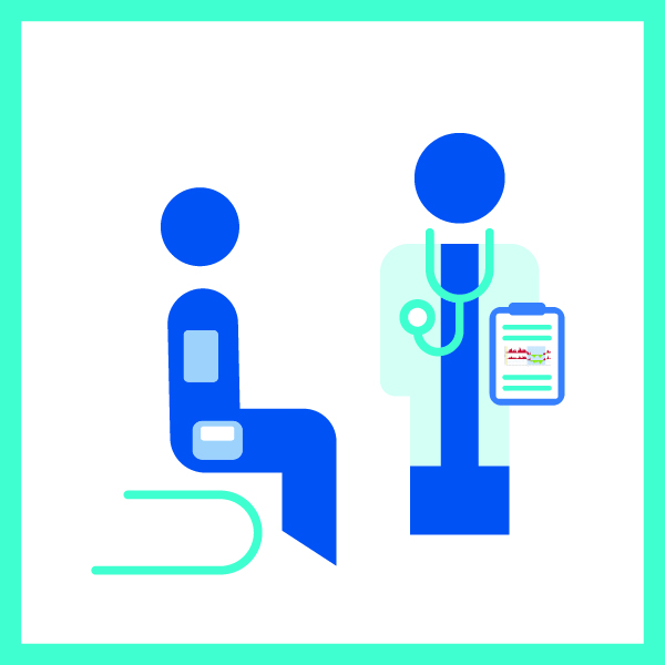 Icon with a doctor consulting a patient with the ABPM report