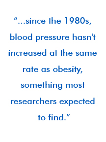 ...since the 1980s, blood pressure hasn't increased at the same rate as obesity, something most researchers expected to find.