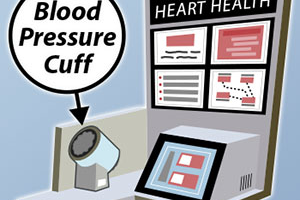 Illustration of a Blood Pressure Monitoring Kiosk