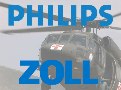 Phillips and ZOLL logo above a picture of a military Medevac Helicopter